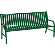 6 Feet Slatted Metal Bench - Green