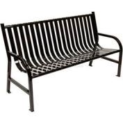 5 Feet Slatted Metal Bench - Black