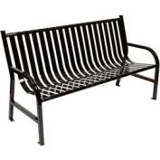 5 Feet Slatted Metal Bench - Black