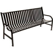 6 Feet Slatted Metal Bench - Black