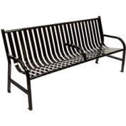 6 Feet Slatted Metal Bench With 3 Armrests - Black