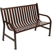 4 Feet Slatted Metal Bench - Brown
