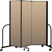 """Screenflex Portable Room Divider 3 Panel, 6'H x 5'9""""L, Vinyl Color: Oatmeal"""