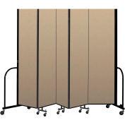 """Screenflex Portable Room Divider 5 Panel, 7'4""""H x 9'5""""L, Vinyl Color: Oatmeal"""