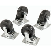 "Set of (4) Swivel 3"" Replacement Casters for Global Hardwood Dolly 1000 Lb. Cap."