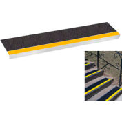 "Grit Surface Aluminum Stair Tread 9""D 30""W Glued Down Yellowblack"