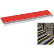 "Grit Surface Aluminum Stair Tread 9""D 42""W Glued Down Grayred"