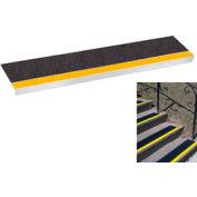 "Grit Surface Aluminum Stair Tread 11""D 36""W Glued Down Yellowblack"