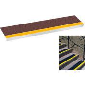 "Grit Surface Aluminum Stair Tread 11""D 36""W Glued Down Yellowbrown"