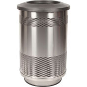 Perforated Stadium Series® Trash Container w/Flat Top - 55 Gallon Stainless
