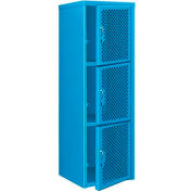 Heavy Duty Extra Wide Vented Steel Locker Triple Tier 24x24x74 3 Door Blue