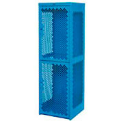 Heavy Duty Extra Wide Vented Steel Locker Double Tier 24x24x74 2 Door Blue
