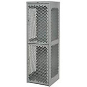 Heavy Duty Extra Wide Vented Steel Locker Double Tier 18x18x75 2 Door Gray