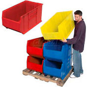 Quantum Hulk Plastic Stacking Bin QUS993RD 16-1/2 x 35-7/8 x 17-1/2 Red