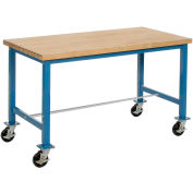 "60""W x 30""D Mobile Packaging Workbench - Maple Butcher Block Safety Edge - Blue"