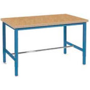 """72""""W x 36""""D Adjustable Height Workbench Square Tubular Leg - Shop Top Safety Edge - Blue"""