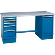 60x30 Square Plastic Pedestal Workbench with 5 Drawers & Cabinet