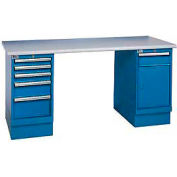 72x30 Square Plastic Pedestal Workbench with 5 Drawers & Cabinet
