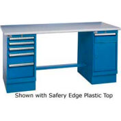 72 x 30 Safety Maple Pedestal Workbench with 5 Drawers & Cabinet
