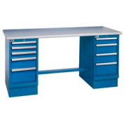60x30 Square Plastic Pedestal Workbench with 8 Drawers