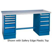 72x30 Safety Maple Pedestal Workbench with 8 Drawers