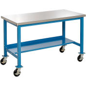 "60""W x 30""D Mobile Workbench - Stainless Steel - Blue"