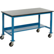 "60""W x 30""D Mobile Workbench - Phenolic Resin Safety Edge - Blue"