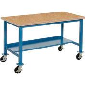 "72""W x 30""D Mobile Workbench - Shop Top Safety Edge - Blue"