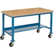 "72""W x 36""D Mobile Workbench - Shop Top Safety Edge - Blue"