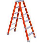 12' Dual Access Fiberglass Step Ladder - 300 lb Cap. - FM1512
