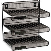 Mesh Three-Tier Desk Shelf, Letter Size, 12-1/2W X 9-1/4D X 12-1/2H, Black