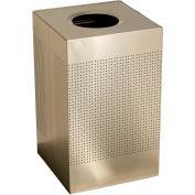 Rubbermaid® Silhouette SC22E Square Open Top Receptacle, 50 Gallon - Desert Pearl