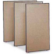 "Office Partitions - Taupe Frame Tan Fabric - 66""H x 60""W"