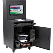 Global Industrial™ Deluxe LCD Industrial Computer Cabinet, Black, Assembled