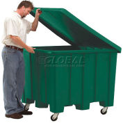 Rotational Molding Plastic Gaylord Pallet Container w/Lid, Casters 02-307220 - 50x50x36-1/2, Green