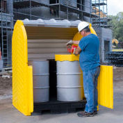 Ultra-Hard Top P4 Plus® 4 Drum Outdoor Spill Containment Unit with Drain - 9637