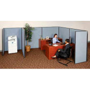 """Pre-Configured Partitioned Office Starter, 8'W x 10'D x 60""""H, Blue"""