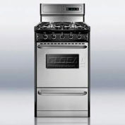 "Summit TNM13027BFKWY - Deluxe Gas Range, Slim 20""W, Stainless Steel Doors, Four Sealed Burners"