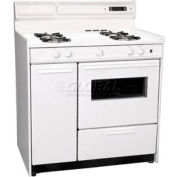 "Summit WNM4307KW - Deluxe White Gas Range, Electronic Ignition, Clock/Timer, Oven Window Light, 36""W"