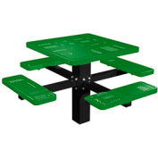 "46"" Single Post Square Picnic Table Perforated Metal"