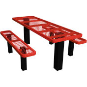 "48"" Permanent Rectangular Picnic Table Expanded Metal"