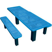 "48"" Permanent Rectangular Picnic Table Perforated Metal"
