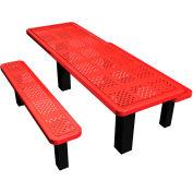 """96"""" Permanent Rectangular Picnic Table Perforated Metal"""