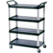 Rubbermaid® Xtra™ 4096 4 Shelf Black Utility Cart with Open Sides