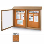 "United Visual Products Double-Door Outdoor Message Center - 45""W x 36""H - Cedar"