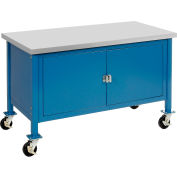 """72""""W x 30""""D Mobile Workbench with Security Cabinet - Plastic Laminate Safety Edge - Blue"""