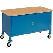 "60""W x 30""D Mobile Workbench with Security Cabinet - Shop Top Safety Edge - Blue"
