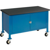 """72""""W x 30""""D Mobile Workbench with Security Cabinet - Phenolic Resin Safety Edge - Blue"""