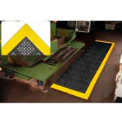 "Diamond Flex-Lok Antifatigue Drainage Mat 42""X72"" 3 Sides Black Yellow Boarders"