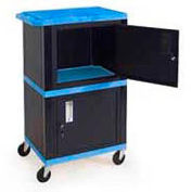 H. Wilson WT50-B Blue Plastic Shelf Mobile Storage Cabinet Truck 250 Lb. Cap.